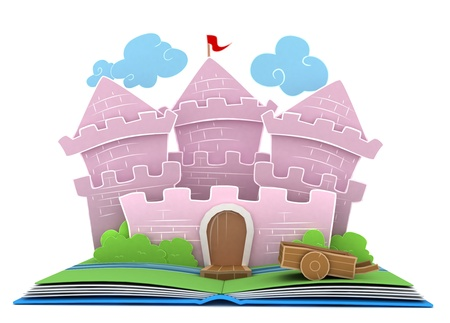 storybook: 3D Illustration of a Castle on Popup Book Stock Photo