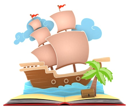 adventure story: 3D Illustration of a Pirate Ship on Book