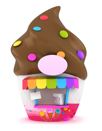sundae: 3D Illustration of an Funky Ice Cream Store Stock Photo