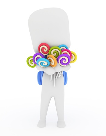 hoard: 3D Illustration of a Kid Carrying Candies Stock Photo
