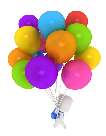 flown: 3D Illustration of a Kid Being Carried Away by Balloons Stock Photo