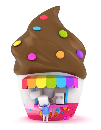 3D Illustration of a Kid Buying Ice Cream Stock Illustration - 10726477