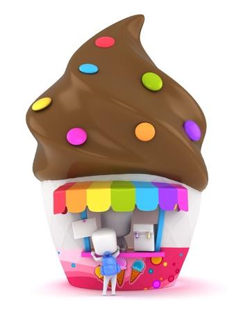 3D Illustration of a Kid Buying Ice Cream illustration