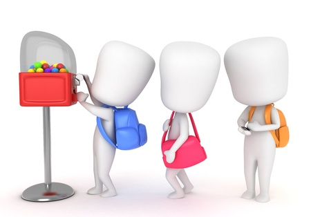 schooler: 3D Illustration of Kids Buying Candies