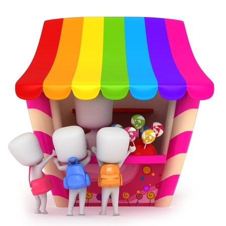 grade schooler: 3D Illustration of Kids Buying Candies