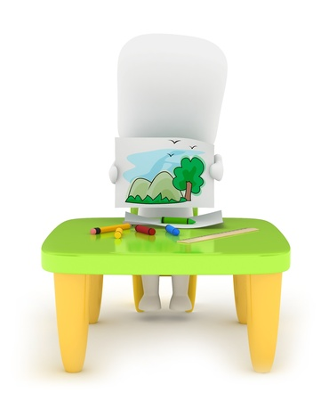3D Illustration of a Kid Showing His Drawing Stock Illustration - 10726465