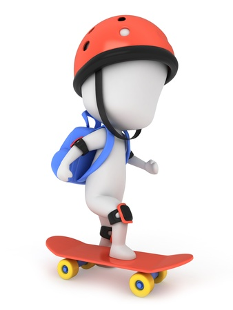 skateboarder: 3D Illustration of a Kid Skateboarding Stock Photo