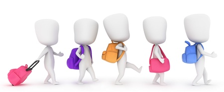 line up: 3D Illustration of Kids walking in line to class Stock Photo