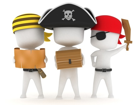kids costume: 3D Illustration of Kids Dressed as Pirates Stock Photo