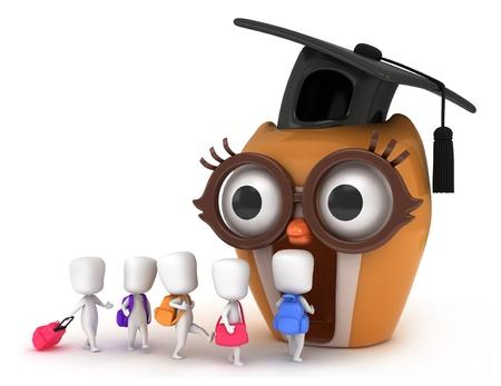 mochila escolar: Ilustraci�n 3D de los ni�os van a las aulas