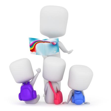 Ilustración 3D de niños escucha a un narrador