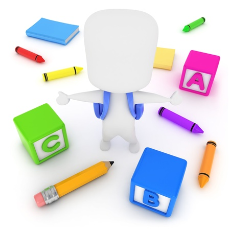top class: 3D Illustration of a Kid with School Objects around him Stock Photo