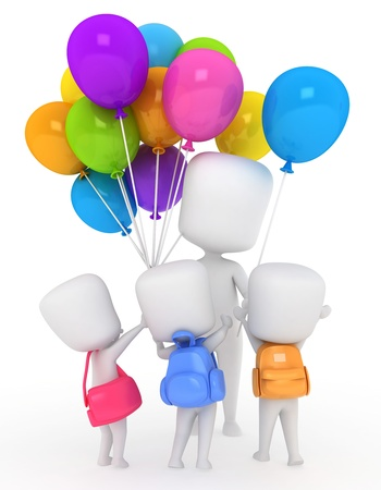 vendor: 3D Illustration of Kids Buying Balloons Stock Photo