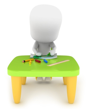 3D Illustration of a Kid Drawing Stock Illustration - 10726464