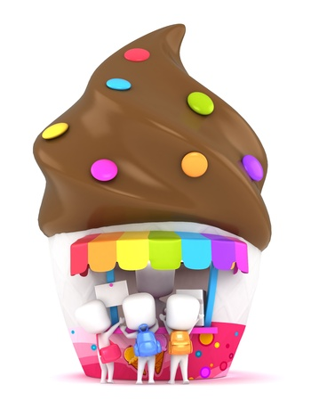 3D Illustration of Kids Buying Ice Cream illustration