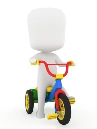 3D Illustration of a Kid Riding a Trike illustration