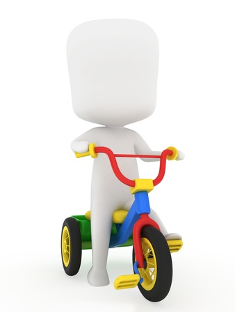 tricycle: 3D Illustration of a Kid Riding a Trike