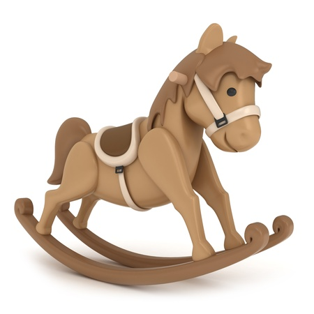rocking horse: 3D Illustration of a Rocking Horse Stock Photo