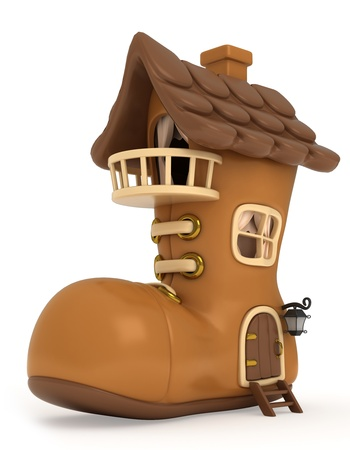 shoes cartoon: 3D Illustration of a House Shaped Like a Shoe Stock Photo
