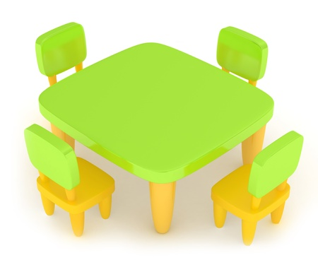 grade schooler: 3D Illustration of a Kiddie Table with Drawing Materials on it