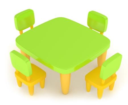 schooler: Illustrazioni 3D di una tabella con i materiali Kiddie disegnando su di essa Archivio Fotografico