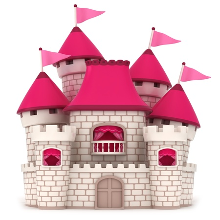 kingdoms: 3D Illustration of a Beautiful Pink Castle Stock Photo
