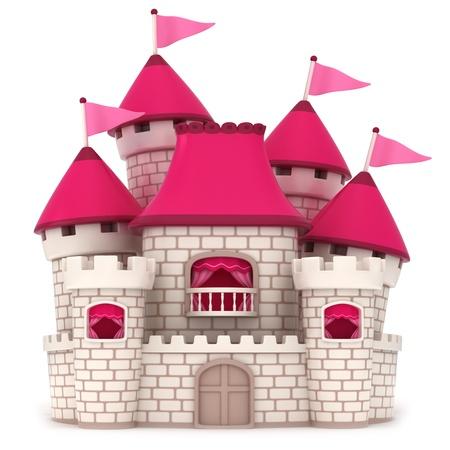 hadas caricatura: Ilustración 3D de un castillo de Rosa Hermosa