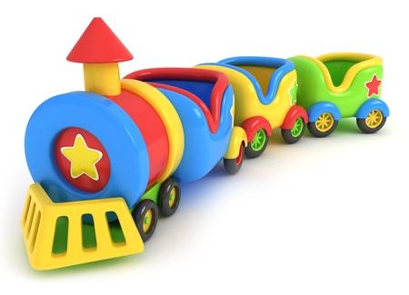 tren caricatura: Ilustración 3D de un tren de juguete Foto de archivo
