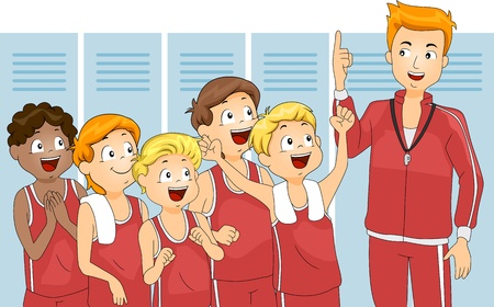 changing room: Illustration of Kids Cheering for Their Team