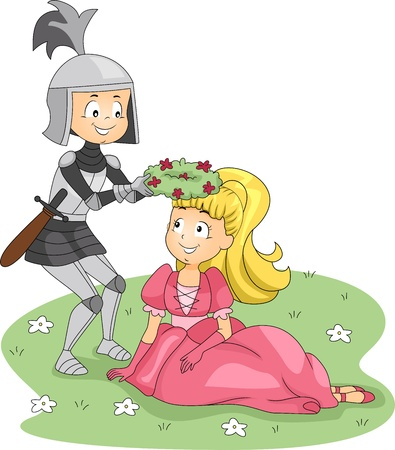 Illustration of a Knight Placing a Crown of Flowers on a Princess Stock Illustration - 10823966