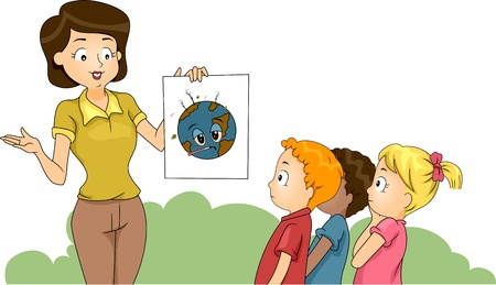discussing: Illustration of a Teacher Discussing Environmental Awareness