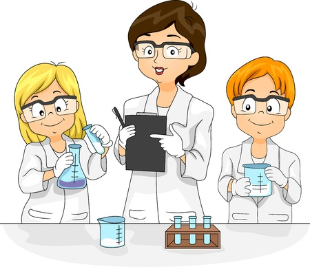 science lesson: Illustration of Kids Conducting an Experiment Stock Photo