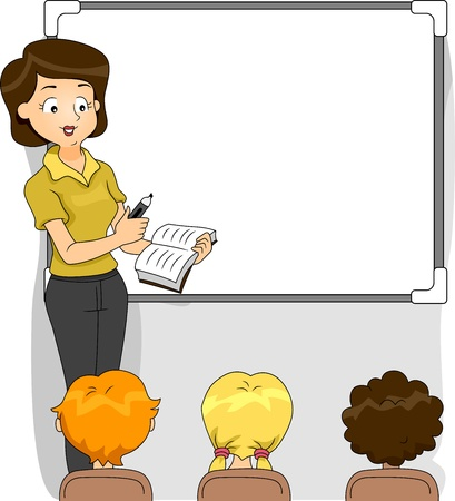 Illustration of a Teacher Discussing the Lesson for the Day Stock Illustration - 10823911