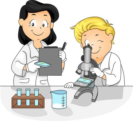 experimento: Ilustraci�n de los ni�os utilizando un microscopio Foto de archivo