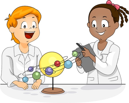science lesson: Illustration of Kids Studying a Solar System Model