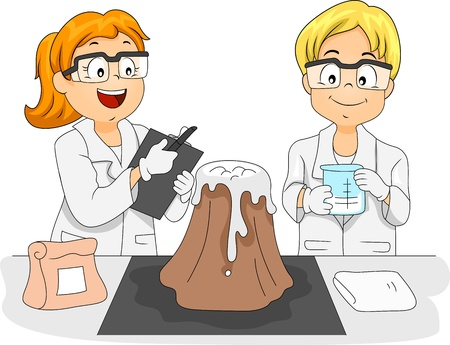 learning materials: Illustration of Kids Studying a Volcano Model