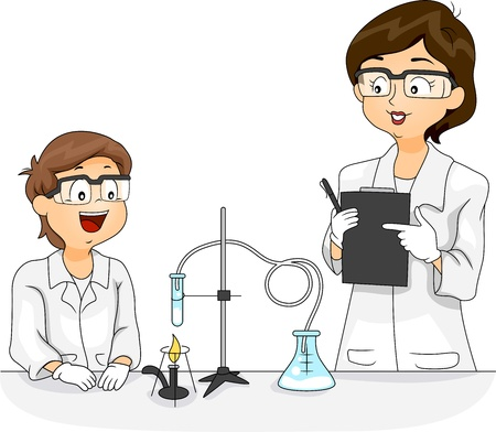 learning materials: Illustration of a Kid Experimenting with Chemicals Stock Photo