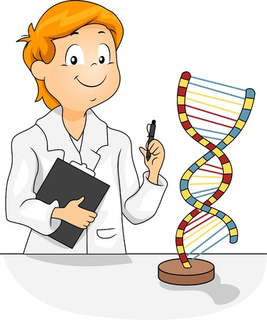 educational subject: Illustration of a Kid Studying a DNA Model
