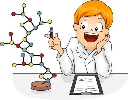 educational subject: Illustration of a Kid Studying a Molecule Model