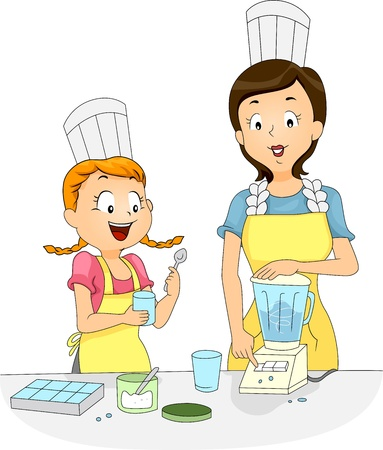 licuadora: Ilustración de una niña y una mujer usando una licuadora para preparar alimentos