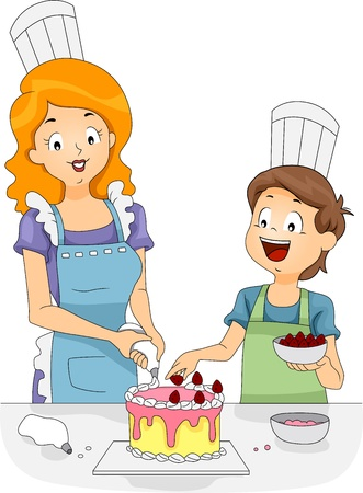 Illustration of a Woman and a Boy Decorating a Cake illustration