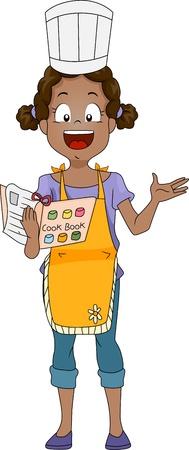 Illustration of a Kid Holding a Cook Book illustration