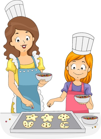 Illustration of a Woman and a Girl Adding Sprinkles to Cookies illustration
