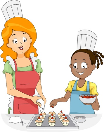 adding: Illustration of a Woman and a Girl Adding Toppings to Cupcakes