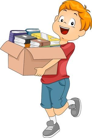 generosity: Ilustración de un chico con una caja llena de libros para la donación o la Organización Foto de archivo