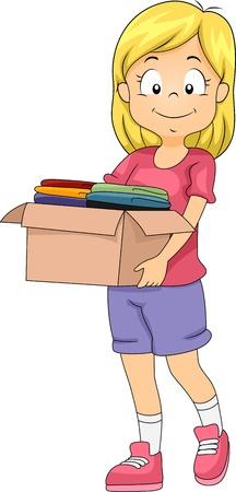 generosidad: Ilustraci�n de una muchacha que lleva una caja de donaciones de ropas Foto de archivo