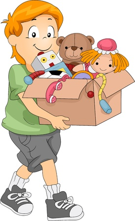 Illustration of a Kid Carrying a Box Full of Toys for Donation or Organizing Stock Illustration - 10823919