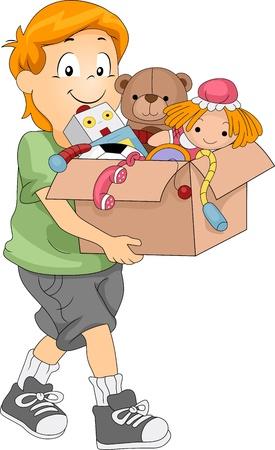 generosity: Ilustración de un niño llevando una caja llena de juguetes para donación u organizar