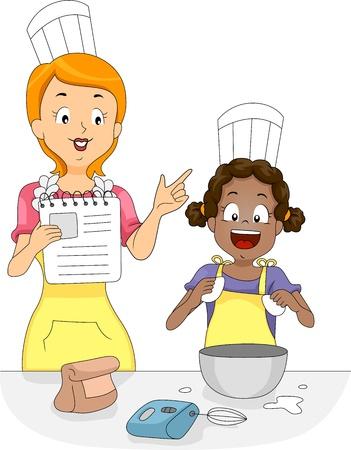 huevo caricatura: Ilustración de un niño aprender a mezclar huevos