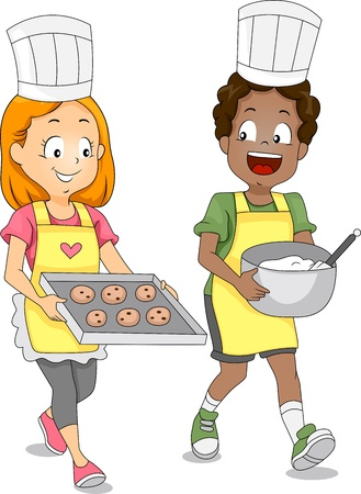 Illustration of Kids Baking Cookies Stock Photo